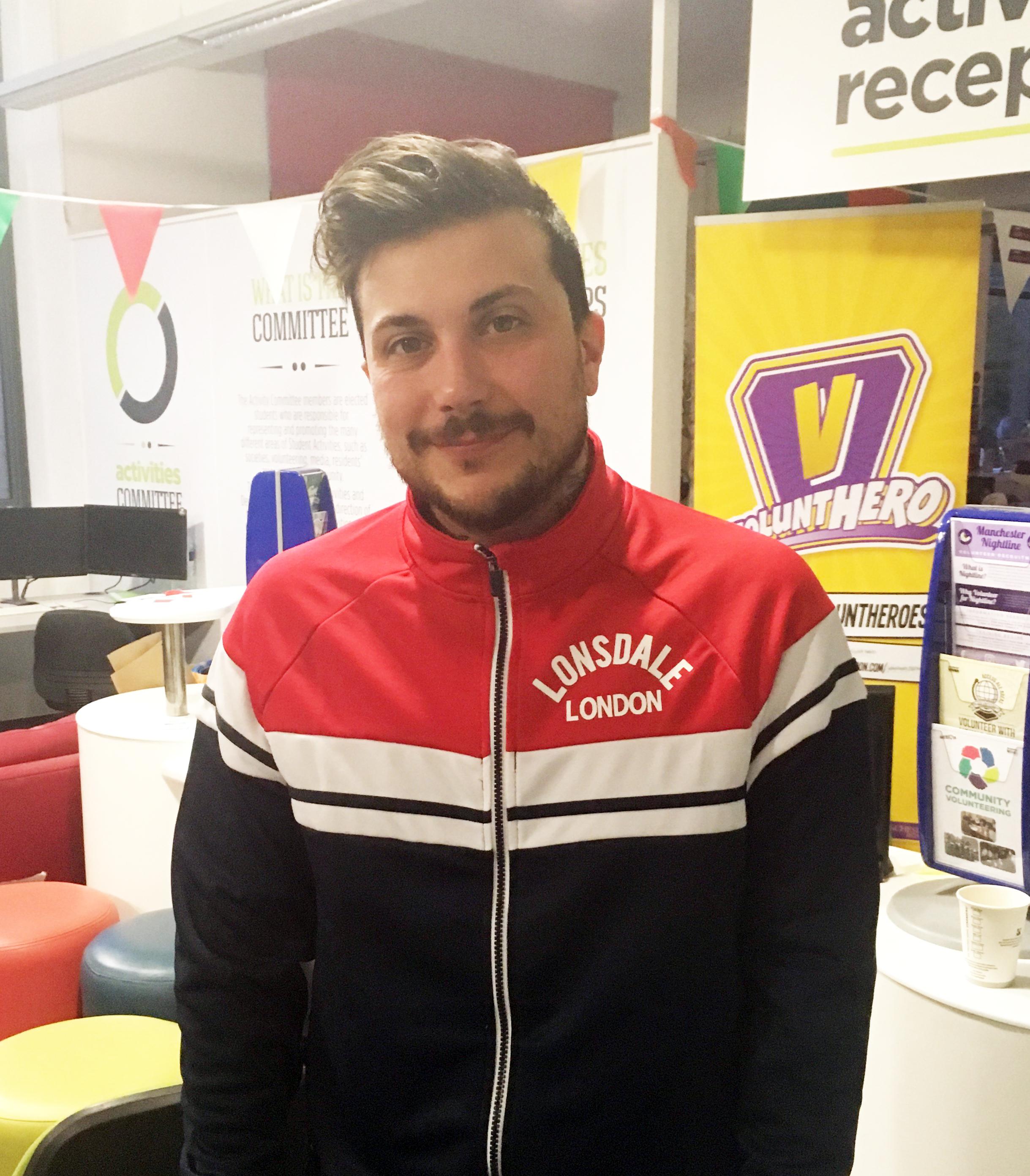 Frank Iero in track jacket